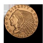 Copper Round Incused Indian